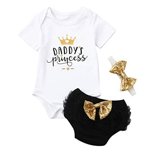 Ropa Bebe Niña Verano Fossen - 3PC/Conjuntos - Bodys de ''Daddy'S Princess '' + Pantalones Cortos de Tutu + Banda de Pelo - para Recien Nacido 0 a 24 Meses
