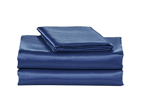 EliteHomeProducts EHP Super Soft and Silky Satin Sheet Set (Solid/Deep Pocket) (Queen, Navy)