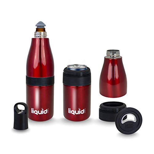 3 In 1 Insulated Stainless Steel Vacuum Sealed Icy Bev Bottle, Can and Water Cooler with Opener. Keep Standard and Skinny Aluminum Pop Tops or 12 Oz Glass Bottles Ice Cold For Hours Even In The Heat