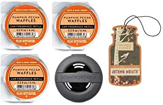 Bath and Body Works Black Soft Touch Vent Clip Car Fragrance Holder and 3 Scentportable Pumpkin Pecan Waffles. Paperboard Car Fragrance Autumn Wreath.