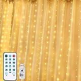 Diyife Luces de Cortina LED, [VersióN Nueva] 300 LED USB Luces de Hada 3x3m 8 Luz Modos 4 Modos de Control por la Música para Ventanas,Balcón,Partido,Día de San Valentín,Navidad,Bodas