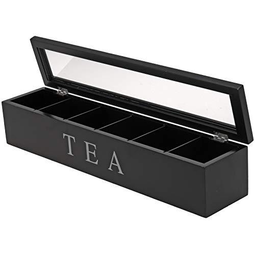 Teekiste - Teebox - Teedose - Farbe: schwarz - L/B/H 43x 9x 9cm