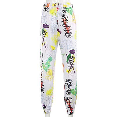 Graffiti Baggy Cargo Pants Mujeres Jogger Pantalones de chándal Bolsillos Casuales Pantalones elásticos de Cintura Alta Mujer Hip Hop Streetwear