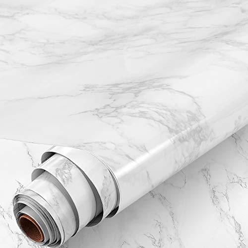 HOMTORA Marmor Folie 30x300cm arbeitsplatte Folie selbstklebend möbelfolie klebefolie PVC wasserdicht dekorfolie für möbel küche Schrank Wand Tür Fenster (weiß)