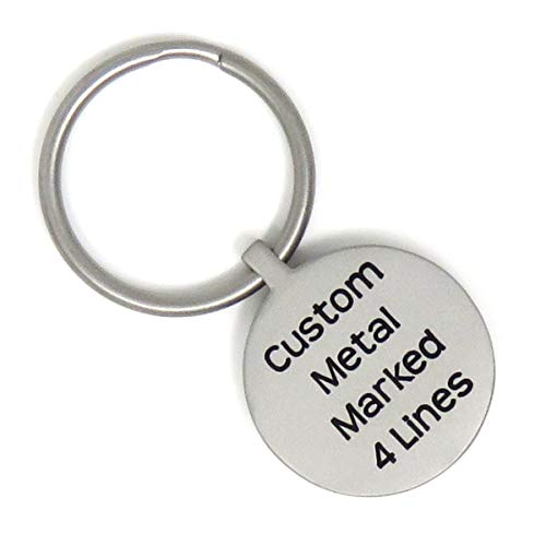 Stainless Steel Key Ring - Personalized - Custom Metal Marked Front and Back - Heavy Duty - Choose Font (Circle)