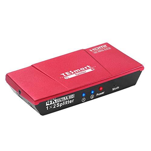 HDMI Splitter TESmart Powered 4K 1x2 HDMI Verteiler 1 in 2 Out Unterstützt HDCP 2.2, 4K 60Hz, 3D, UHD, 1080P, HDMI Splitter 1 auf 2 für Xbox, PS4, PS3, Blu-Ray-Player, Firestick, HDTV-Korallenrot