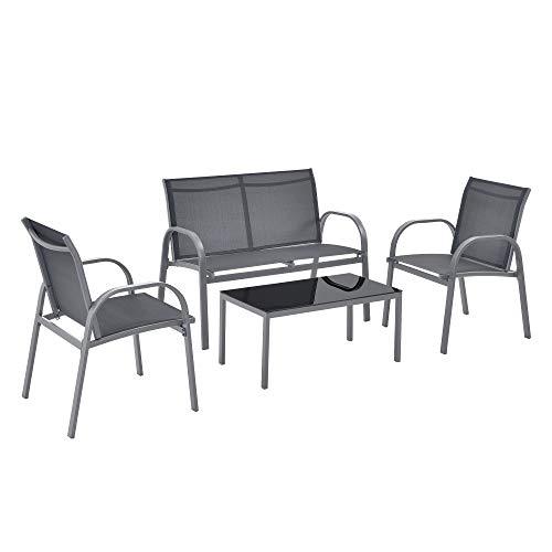 [en.casa] Set de Muebles de Jardín 4-Piezas Conjunto de Muebles de Exterior Terraza Patio Set de 2 Sillas Banco Mesa de Centro Gris Oscuro y Tablero de Mesa Negro
