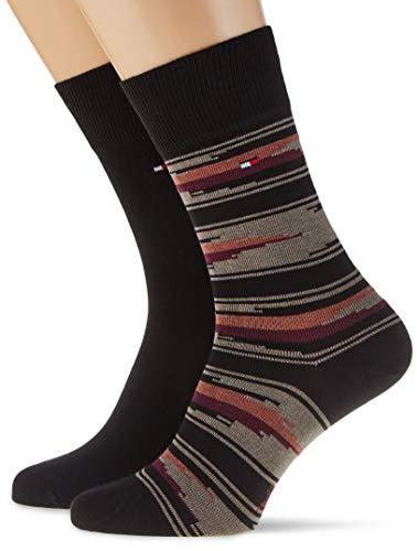Tommy Hilfiger Th Men Sock 2p Folk calcetines, combo negro, 39/42 (Pack de 2) para Hombre