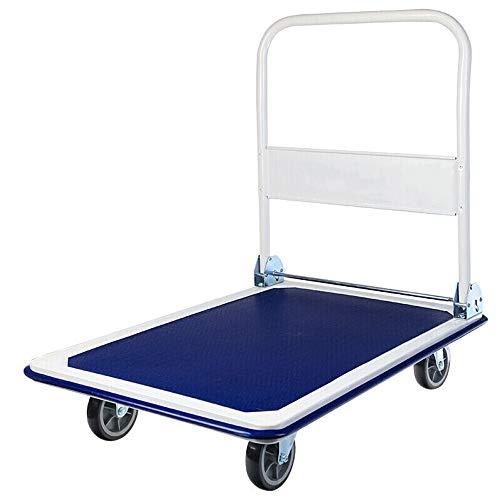 Carrello con Pianale Multiuso pieghevole Trolley Flatbed Trolley Portable Carrello Handling Helper silenzioso Ruote per un Facile Trasporto / Sollevamento Pesante ( Color : Blue , Size : 47x73x80cm )