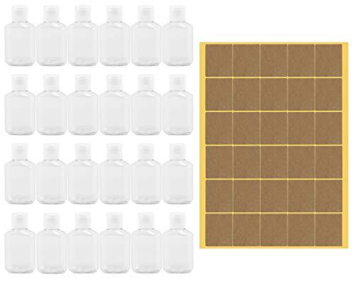 Cornucopia Botellas de plástico de 2 onzas (paquete de 24); tapa vacía tamaño monedero, tamaño de viaje, contenedores de plástico transparente para limpiador de manos, loción, champú, etc.