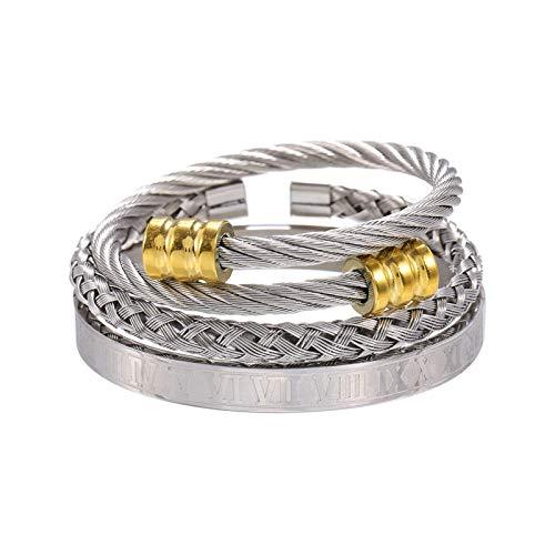 1 unid brazaletes para los hombres de cobre esmerilado pulsera trenzado entrelazado conjunto plata oro