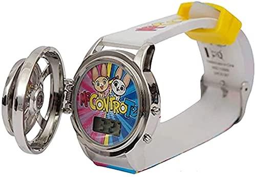 Reloj Me Contro Te Spin Watch Digital con Pulsera Colgante Ángel + Llavero Girabrilla y Bolígrafo de Colores
