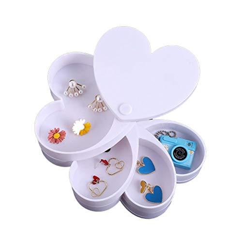 Dan&Dre Caja de almacenamiento para joyas, con forma de corazón, giratoria, organizador de 4 capas, para pulseras, anillos, collares