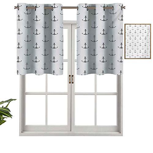 Blackout Short Curtains with Grommets Monochrome Figures with Little Hearts Hipster Hand Drawn Tattoo Art Style Retro, Set of 2, 42'x36' Small Half Window Valances for Kitchen
