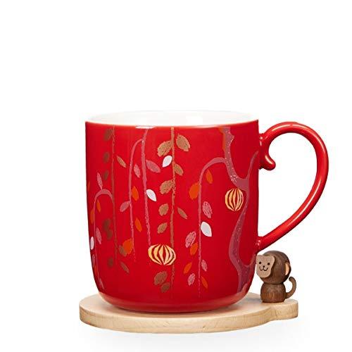 Starbucks Mondjahr Sammlung AFFE-Becher Und Untersetzer-Set, 12 FL Oz 2016 Rot