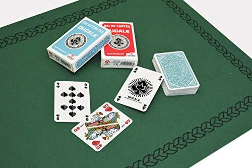 Ducale, le jeu français - Tapis de Jeu en Feutre Vert 40 x 60 cm + 2 Jeux de 54 Cartes Ecopack 10011365