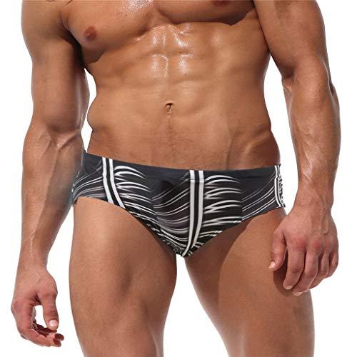 Celucke Badeslip Männer Badehose Herren Kurze Schwimmhose Badeshorts Print Stretch Bademode Slips Schnelltrocknend Schwimmshorts Sommer Shorts (Schwarz, XL)