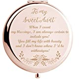 Onederful Aunt Gifts from Nephew and Niece,Aunt Birthday Gift Ideas, Rose Gold Compact Makeup Mirror Gift for Aunt, Thanksgiving Day, Christmas,Mother's Day Present for Aunt(Sweet Aunt)