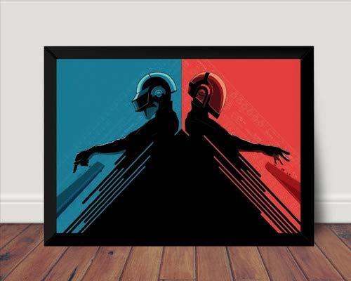 Quadro Musical Daft Punk Poster Com Moldura Arte