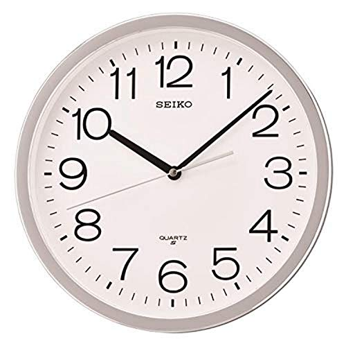 Seiko Classic Numbered Wall Clock with Quiet Sweep, Silver