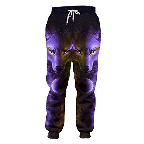 FR-pants-personality Printemps Automne Unisexe Décontracté Pantalon de survêtement Imprimé Angry Wolf 3D Pantalon de survêtement Homme Bodybuilding Fitness Pantalon à séchage Rapide Angry Wolf XL