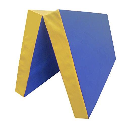 Niro Sportgeräte Turnmatte Weichbodenmatte Klappbar, Blau/Gelb, 100 x 100 x 8 cm