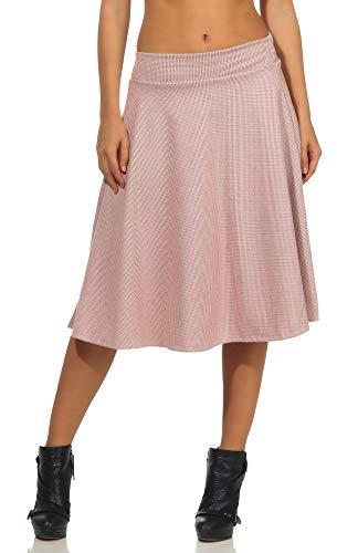 Malito Mujer Falda Invierno A-Línea Cuadros Arrugas 7055 (Rosa, L)