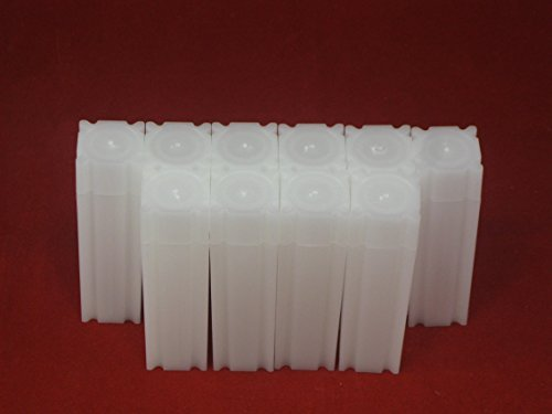(10) Coinsafe Brand Square White Plastic (Dime) Size Coin Storage Tube Holders, Model: , Office Shop