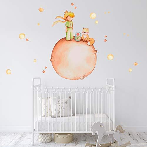 Vinilo Decorativo Infantil El Principito con Planetas y Estrellas – 120x120 cm – Autoadhesivo de fácil colocación – Habitación Infantil