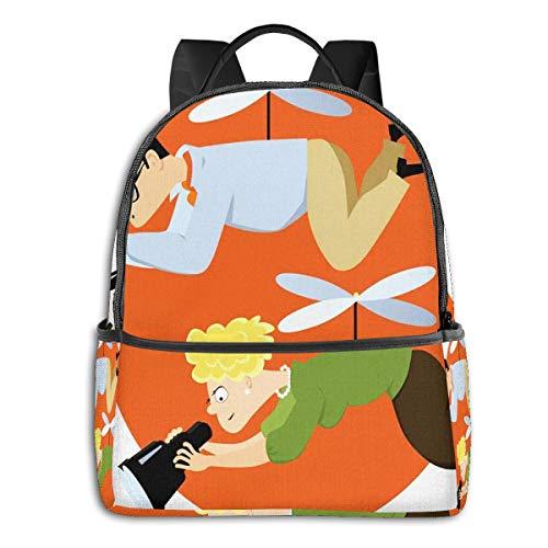 Schulrucksack Schultaschen Mädchen Teenager Rucksack Schultasche Schulrucksäcke wasserdichte Backpack für Damen Herren Geeignet 14 Zoll Notebook Hubschrauber Eltern schweben