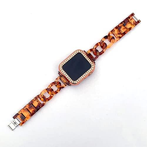 CHENPENG Correa de Reloj de Resina de Moda Compatible con Apple Watch Mujer Hombre Pulsera Correa de Acero Inoxidable Pulsera de Repuesto con Hebilla de Acero Inoxidable,1