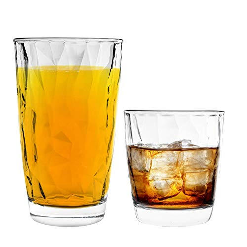 Bormioli Rocco Diamant Eau Gobelets et Highball Verres à Cocktail - 300ml, 470ml - Set 12pc