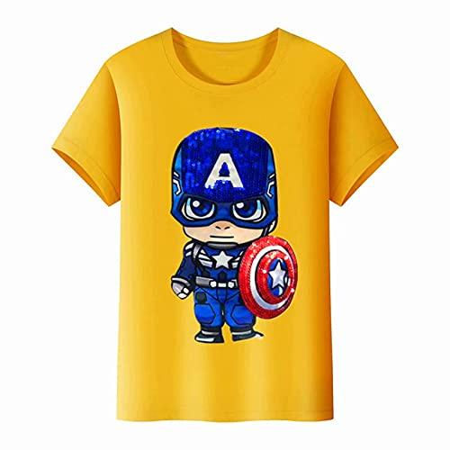 XNheadPS Capitán América Novedad Kids Camisetas Camisas cómodas Niño Niña de luz LED Camiseta Ocasional del Verano de Moda Top de Manga Corta al Aire Libre Tees para Niños,Yellow- Kid 120cm