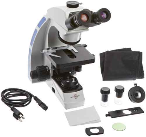 WPI 504444 Trinocular Microscope with Slider Phase Set, 3 Watt LED Variable Illumination, 30 Degree Viewing Angle
