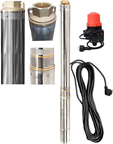 "Tiefbrunnenpumpe Brunnenpumpe 3,5"" 89 mm 0,75kW 10 bar 4560 l/h sandresistent + AUTOPRESS Druckregler Trockenlaufschutz"