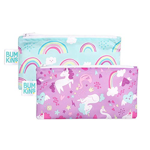 Bumkins Snack Bags Reusable Washable Food Safe BPA Free 2Pack – Unicorns amp Rainbows