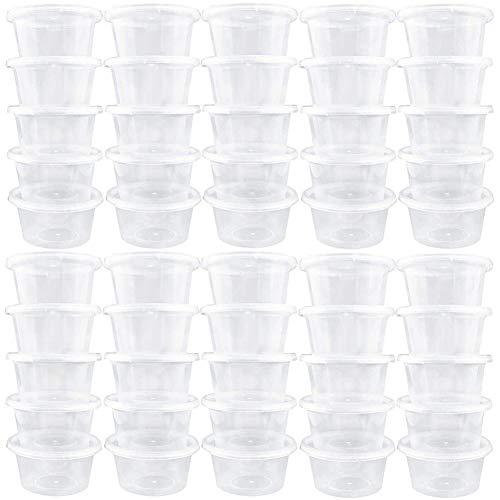 SZWL Kleine Plastikbehälter mit Deckel - Saucenbecher - Lagerbehälter, Behälter Wiederverwendbare Foam Ball Kunststoff-Vorratsgläser mit Deckel, Durchscheinenden Mini-Gewürzsaucenbechern - 50 Sätze