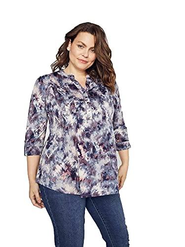 Dressbarn Women's Roz & Ali Batik Tie Dye Popover- Plus Shirt (1X, Indigo/Taupe)