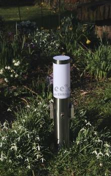 Edelstahl Sockelleuchte Energiesäule Pollerleuchte Steckdosenleuchte mit Schalter