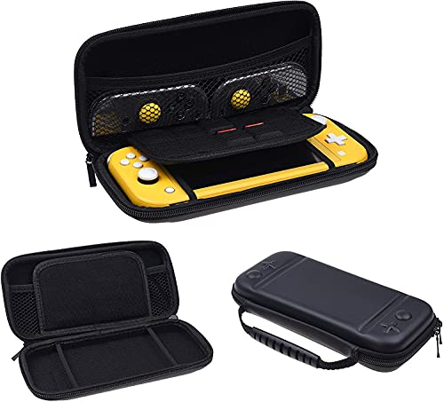LYCEBELL Funda de transporte para Nintendo Switch Lite – Funda rígida de viaje con 8 soportes para tarjetas de juego, auriculares, accesorios de almacenamiento y negro