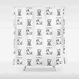 AIDEMEI Inhale Exhale French Bulldog Shower Curtain Waterproof Polyester Fabric Set with Hook Nordic Shower Curtains 70.8X70.8 Inch