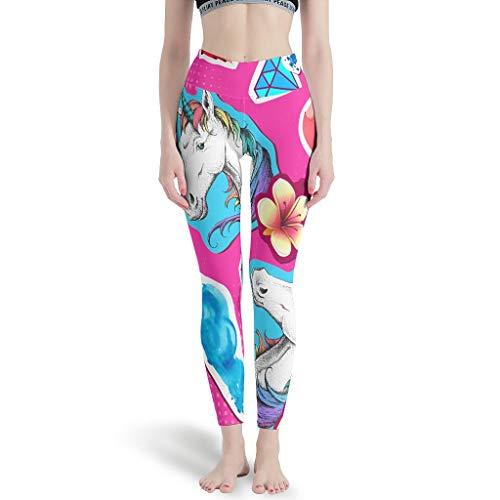 Gamoii - Leggings deportivos para mujer, diseño de corazón, unicornio, color rosa, impresión 3D, pantalones de yoga, cintura alta, leggins atléticos blanco XS