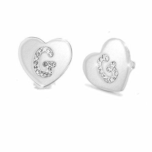 Beloved Orecchini da donna con cristalli in acciaio - con lettera iniziale a forma di cuore - lettera dell'alfabeto in cristalli - Con perno e farfallina - per lobi forati (G)