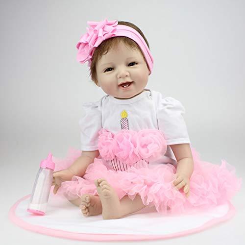 22 Zoll Lächeln Gesicht Reborn Babypuppen lebendig lebensechte Puppen realistische Bebe Reborn Babys Mädchen Spielzeug mit schönen Kleid...