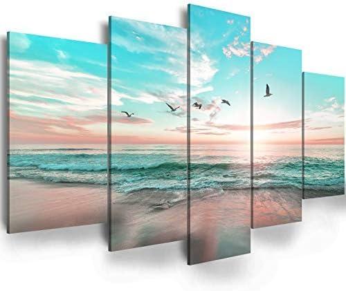 Abstract Ocean Beach Sunrise Ephany Art Wall Art Blue Sea Landscape Wall Art Canvas Wall Art product image