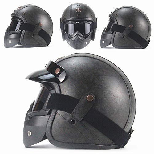 ZYW Retro Helm Handgemachte Lederhelm Klassischer Helm PU-Leder Helm 3/4 Motorradfahrradhelm Geöffnet Vintage Motorradhelm,Style 3,XXL