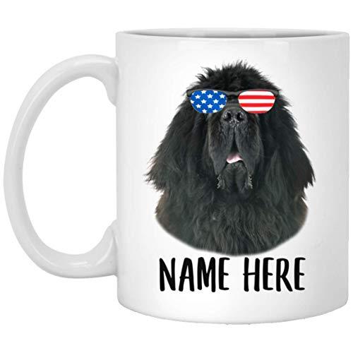 N\A Nombre Personalizado Mastín Tibetano Negro con Bandera Americana Gafas de Sol Taza de café Blanca 11 oz
