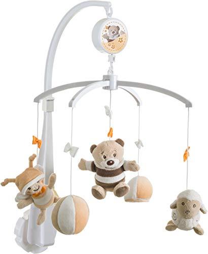 Bieco Musik Mobile Baby Design: Bär Bubu | Ø 33 cm, Höhe 60 cm | Baby Einschlafhilfe, Spieluhr Baby | Babybett Spielzeug | Mobile Baby Musik | Baby Toys 0-6 Months | Melodie: Guten Abend Gute Nacht