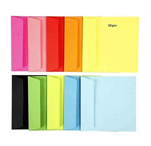 Enveloppes couleur, 15x15 cm, Couleurs assorties, 50 pcs EMI Craft