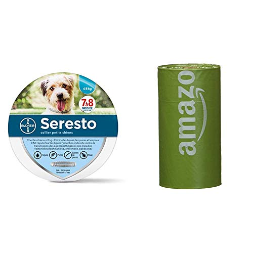 Seresto Collare Antiparassitario per Cani fino a 8Kg & Amazon Basics Sacchetti igienici per cani con additivi certificati EPI e dispenser e clip per attacco al guinzaglio, confezione da 270 sacchetti